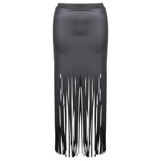 View Item Black Wet Look Tassel Skirt